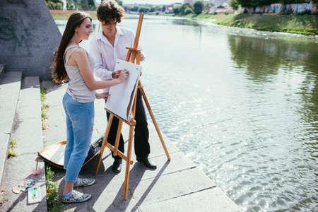 Photo pour Painting courses art education concept. Working process. Improvement of skill. - image libre de droit