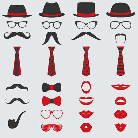 Illustration pour Retro Party set - Glasses, hats, lips, mustaches, ties and pipe - for design, photo booth, scrapbook in vector - image libre de droit