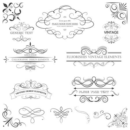Ilustración de Vector vintage style elements. Vintage handwritten flourishes, patterns and ornaments. - Imagen libre de derechos