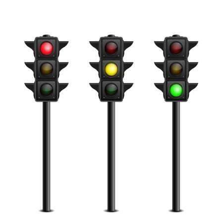 Illustration pour Three-dimensional full length traffic lights on white background. Vector illustration. - image libre de droit