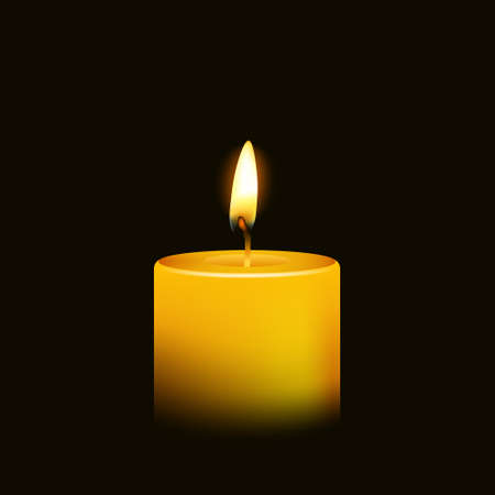 Illustration for One candle flame at night closeup - isolated. Vector illustration. - Royalty Free Image