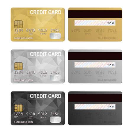 Illustration pour Vector credit cards, front and back view. Vector EPS10 illustration. - image libre de droit