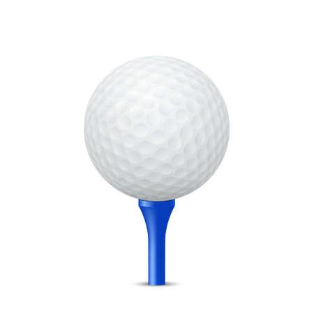 Ilustración de Golf ball on a blue tee, isolated. Vector EPS10 illustration. - Imagen libre de derechos