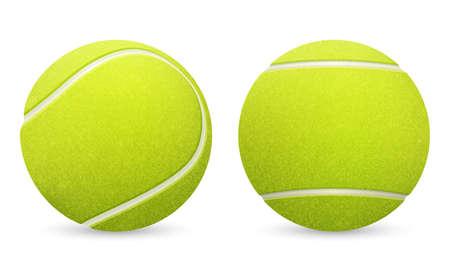 Ilustración de Closeup of two vector tennis balls isolated on white background.  - Imagen libre de derechos