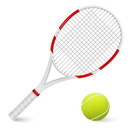 Illustration pour Combination of tennis racket and ball isolated on white background.     - image libre de droit