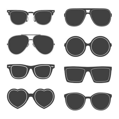Photo for Vector set of sunglasses silhouettes.  - Royalty Free Image
