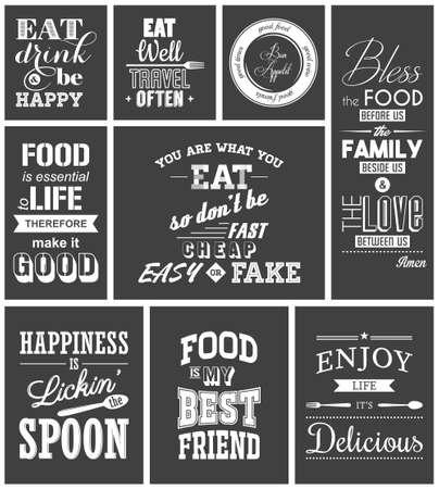 Ilustración de Set of vintage food typographic quotes. - Imagen libre de derechos