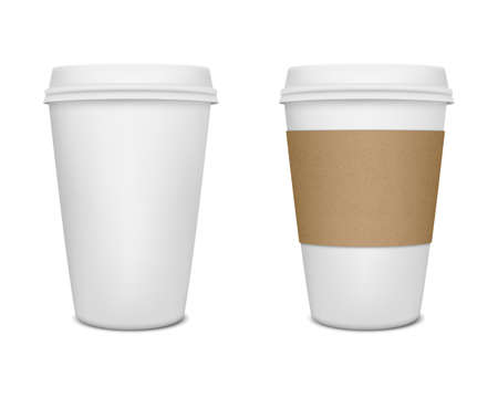 Photo for Realistic paper coffee cup set. Vector EPS10 illustration. - Royalty Free Image