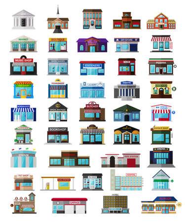 Illustration pour Set of the isometric city buildings, shops and other elements - image libre de droit