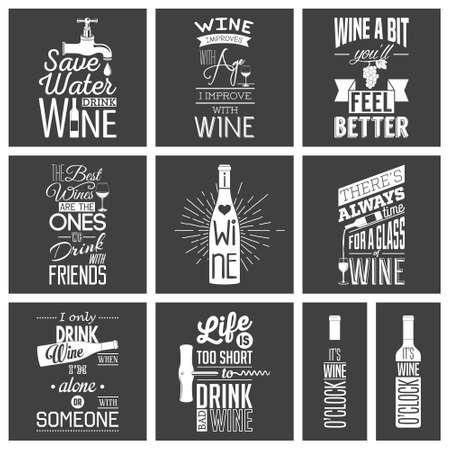 Ilustración de Set of vintage wine typographic quotes.  - Imagen libre de derechos