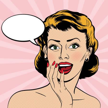 Ilustración de Beautiful surprised woman in the pop art comics style. Vector illustration. - Imagen libre de derechos