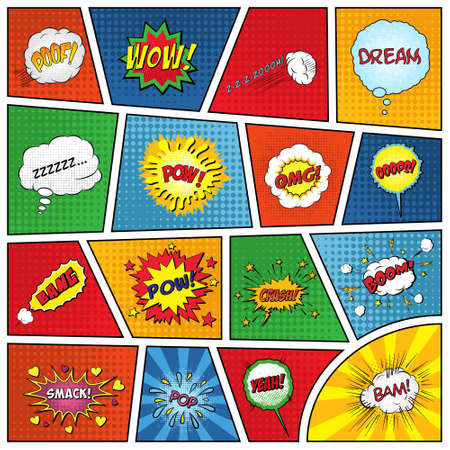 Illustration for Set of comic sound effects. Vector EPS10 illustration. - Royalty Free Image