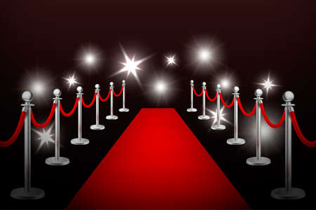 Illustration for Realistic vector red event carpet , silver barriers and flashes. Design template in EPS10. - Royalty Free Image