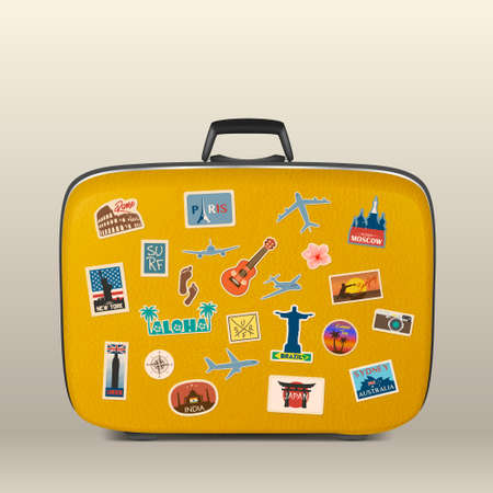 Illustration pour Vector travel stickers, labels with famous countries, cities, monuments and symbols on suitcase in retro vintage style isolated on white. Includes Italy, France, Russia, USA, England, India, Japan etc. - image libre de droit