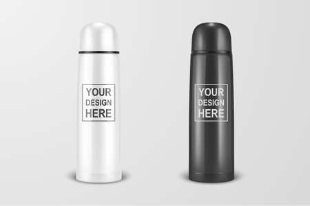 Ilustración de Vector realistic 3d white and black empty glossy metal vacuum thermo tumbler flask icon set closeup on white background. Design template of packaging mockup for graphics. Front view - Imagen libre de derechos