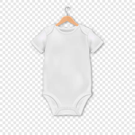 Illustration pour Vector Realistic White Blank Baby Bodysuit Template, Mock-up Hanging on a Hanger Closeup Isolated on Transparent Background. Body Children, Baby Shirt, Onesie. Accessories, lothes for Newborns. - image libre de droit