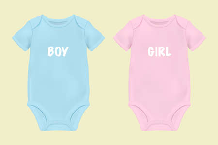 Illustration pour Realistic Blue and Pink Blank Baby Bodysuit Template, Mock-up Closeup Isolated on White. - image libre de droit