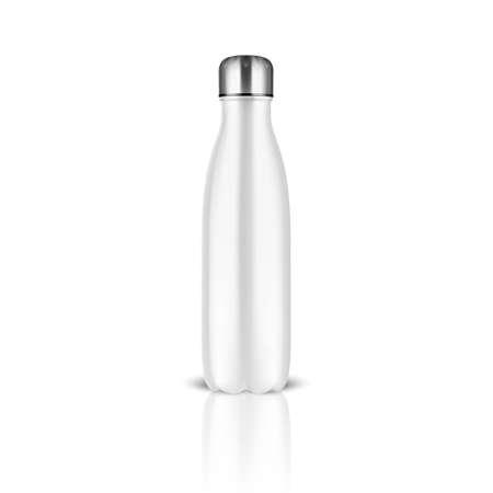 Illustration pour Realistic 3d White Empty Glossy Metal Reusable Water Bottle with Silver Bung Closeup on White Background. - image libre de droit
