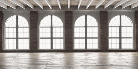 Foto de Large empty room in loft style with big arched windows.  Interior mock up with wooden floor and brick wall. 3D render. - Imagen libre de derechos