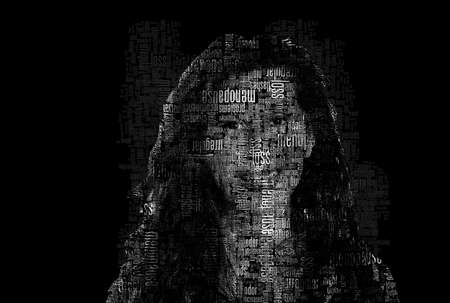 text portrait of menopausal woman with symptoms of menopause looking at camera while smiling