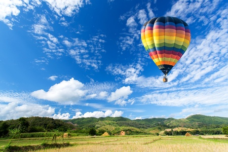 Photo for Hot air balloon over the field with blue sky - Royalty Free Image