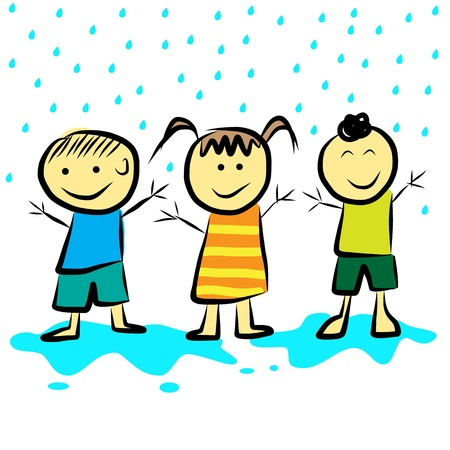 Kids playing in the rain  format