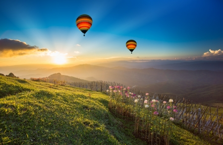 Photo for Sunset over forest mountain with hot air balloon - Royalty Free Image