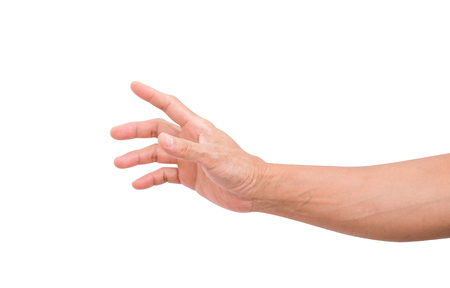 Foto de Man hand grabbing isolated on white background; clipping path - Imagen libre de derechos