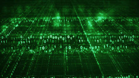 Foto de Green sci-fi grid of digital binary code. Information technology futuristic concept. Computer generated rendering with DOF  - Imagen libre de derechos