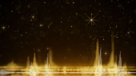 Photo for Yellow audio wave form and sparkles. Computer generated festive raster illustration  - Royalty Free Image