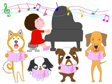 Illustration pour Dog choir and a girl playing the piano - image libre de droit