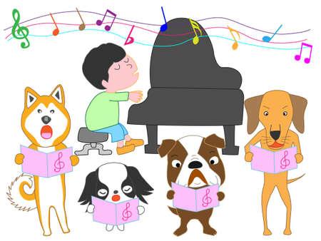 Illustration pour Dog choir and a boy playing the piano - image libre de droit