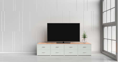 Foto de Smart tv on tv stand  in white living room decorated with wood white tv stand, tree in glass vase, white cement wall it is grid pattern, white  floor and light window. 3d rendering. - Imagen libre de derechos