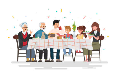Ilustración de Family sitting at dining table. People eat festive food, holiday talking and family dinner reunion. Vector illustration. - Imagen libre de derechos