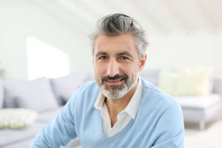 Photo for Portrait of handsome mature man with grey hair - Royalty Free Image