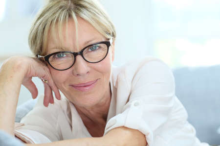 Photo for Portrait of senior woman with eyeglasses on - Royalty Free Image