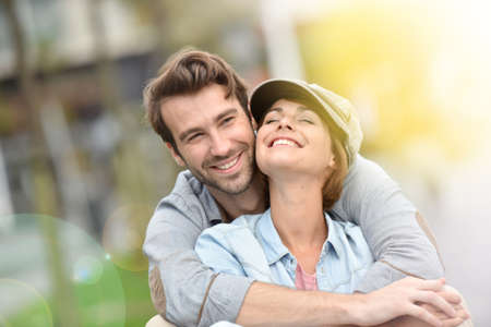 Photo for Portrait of in love young couple in town - Royalty Free Image
