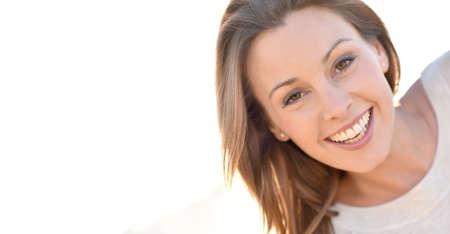 Photo pour Portrait of cheerful natural woman with long hair - image libre de droit