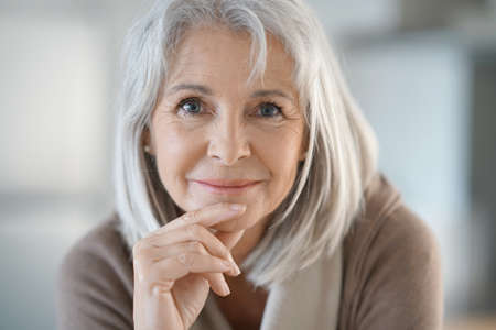 Photo for Portrait of beautiful senior woman with white hair - Royalty Free Image