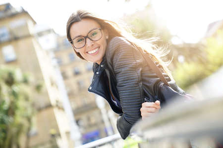 Photo for Portrait of trendy city girl with eyeglasses - Royalty Free Image