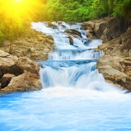 Beautiful cascade fall in tropical forest
