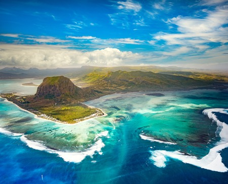 Photo for Aerial view of the underwater waterfall and Le Morne Brabant peninsula. Amazing Mauritius landscape - Royalty Free Image