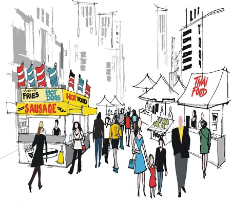 Vector illustration of street market, New York.