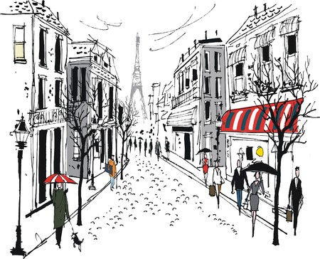 Illustration pour Vector illustration of old French city street with pedestrians and trees - image libre de droit