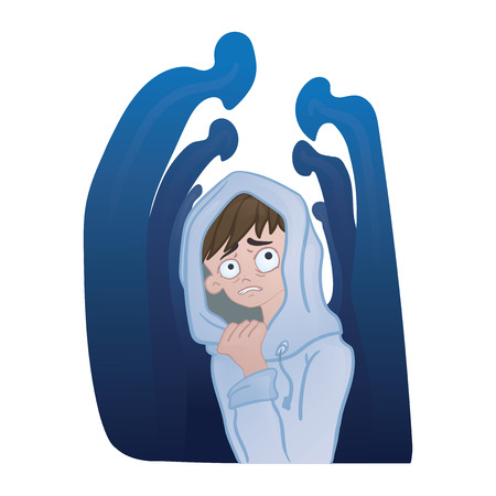 Ilustración de Social anxiety disorder, social phobia concept. Depressed young man in the crowd of silhouettes. Vector illustration, isolated on white background. - Imagen libre de derechos
