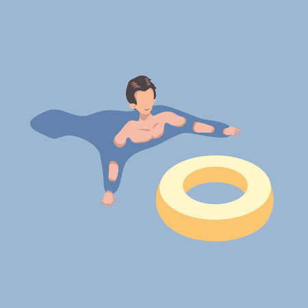 Ilustración de Swimming man with the rubber ring in isometric projection. Vector illustration, isolated on blue background. - Imagen libre de derechos