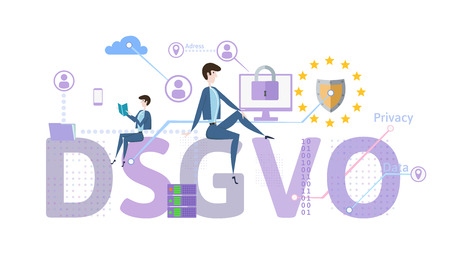 Illustration pour General Data Protection Regulation. GDPR, called DSGVO in German. Concept vector illustration. The protection of personal data. Isolated on white background. - image libre de droit