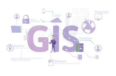 Illustration pour GIS Software Concept, Geographic Information System. Vector illustration on blue background. - image libre de droit