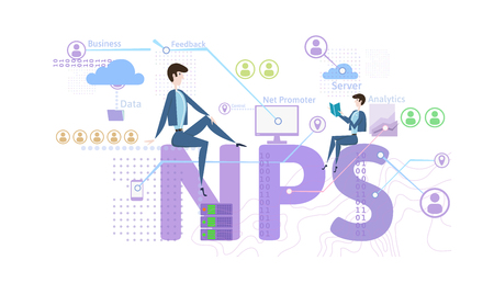 Ilustración de NPS concept, vector illustration, isolated on white background. Net Promoter Score. - Imagen libre de derechos