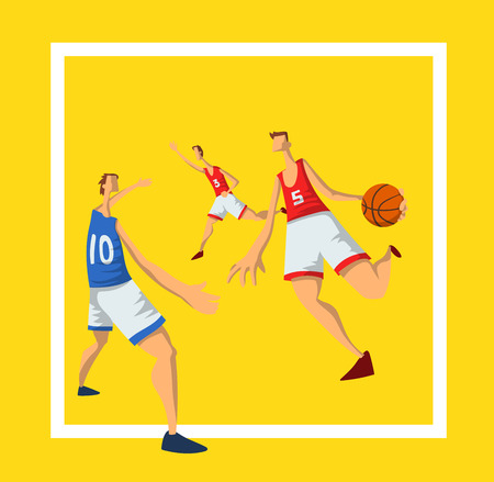 Basketball players in abstract flat style. Men playing with a basketball ball. Design template for sport poster. Vector illustration, isolated on white background.